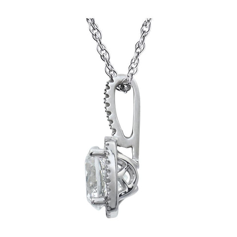 "Sterling Silver 7mm Lab-Grown White Sapphire & .015 CTW Diamond 18"" Necklace"