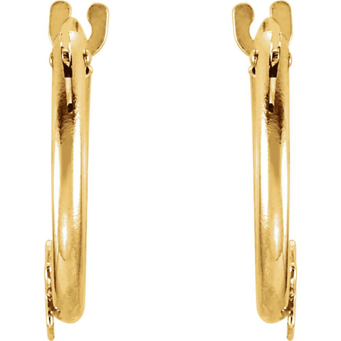 14k Yellow Gold Youth Hoop Earrings with Star