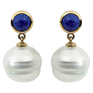 14k Yellow Gold Round Lapis Dangle Earrings
