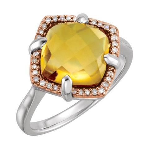 Sterling Silver Rose Gold Plated Citrine & 1/8 CTW Diamond Ring Size 7