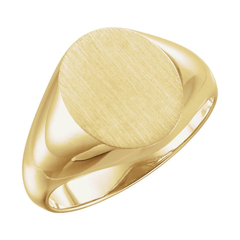 14.00X12.00 mm Men's Signet Ring with Brush Finished Top in 10k Yellow Gold ( Size 10 )