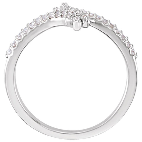 14k White Gold 1/4 CTW Diamond Bypass Ring, Size 7