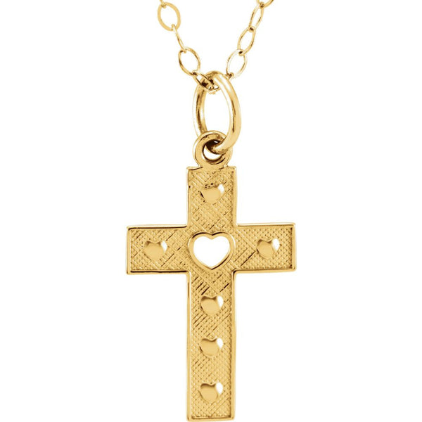 "14k Yellow Gold Cross 15"" Youth Necklace"