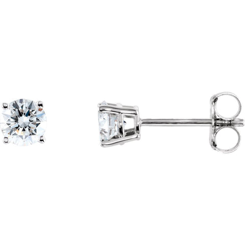 Pair of 1/2 CTTW Basket-Style Friction Post Stud Earring in 14k White Gold