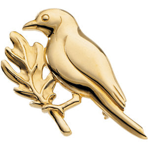 18.75x34.00 mm The Winter Robin Brooch in 14K Yellow Gold