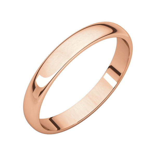 10k Rose Gold 3mm Half Round Light Band, Size 6