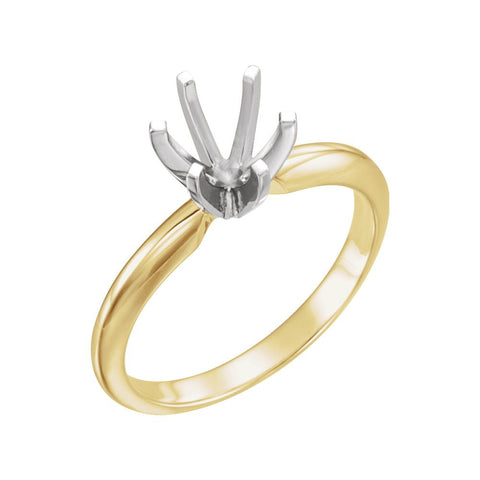 18k Yellow Gold & Platinum 7.3-7.7mm Round Heavy 6-Prong Engagement Ring Mounting, Size 6