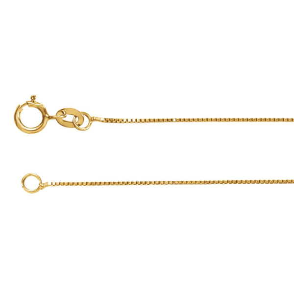 "14k Yellow Gold .55mm Solid Box 16"" Chain"
