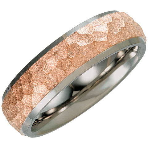 Titanium Hammered Wedding Band Ring with 14K Rose Gold Immerse Plating (Size 8 )