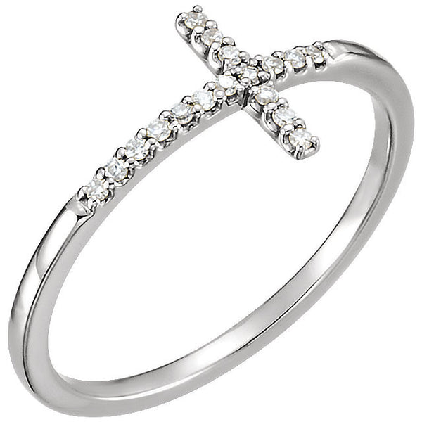14k White Gold .085 CTW Diamond Sideways Cross Ring, Size 7
