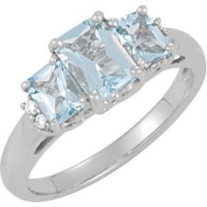 0.05 CTTW Genuine Aquamarine and Diamond Ring in 14k White Gold ( Size 6 )