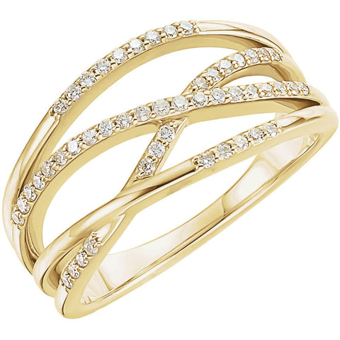 14k Rose Gold Criss-Cross Ring Mounting, Size 7