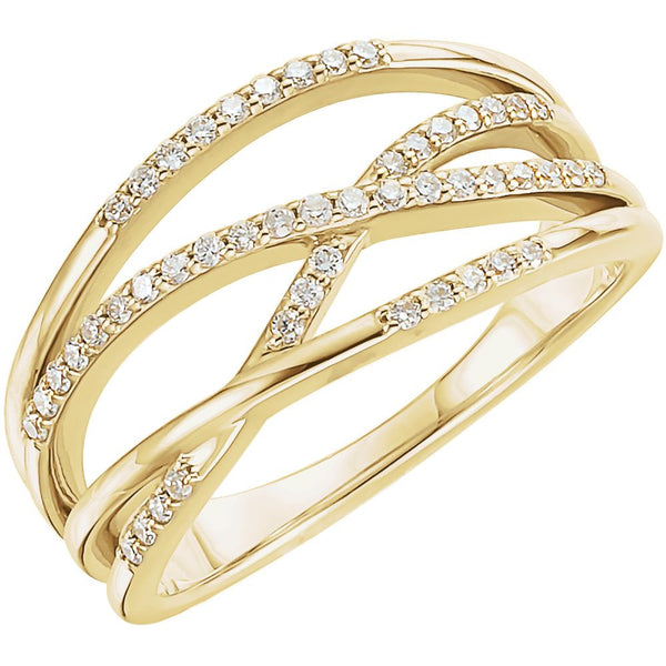 14k Yellow Gold Criss-Cross Ring Mounting, Size 7