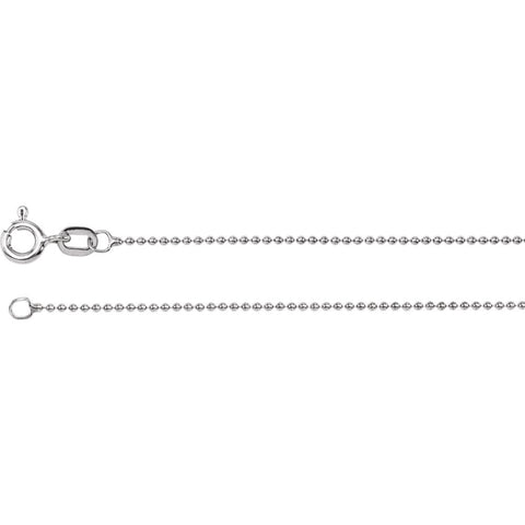 1.0 mm Solid, Bead Chain in 14k White Gold ( 16-Inch )