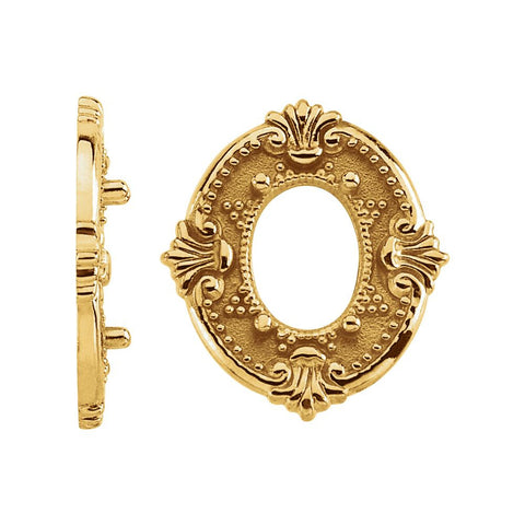 Oval Shaped 4-Prong Trim For Round Center Stone in 14K Yellow Gold
