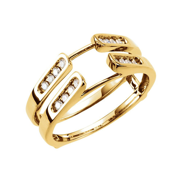 14k Yellow Gold 1/4 CTW Diamond Ring Guard, Size 7