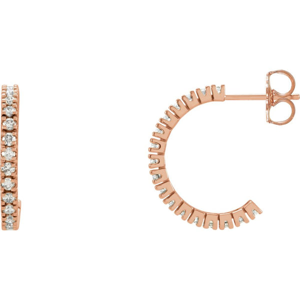14k Rose Gold 1/2 CTW Diamond Hoop Earrings
