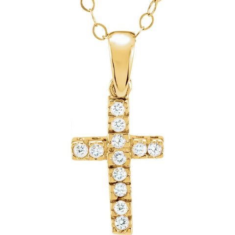 Kid's CZ Cross Pendant with Chain in 14k Yellow Gold