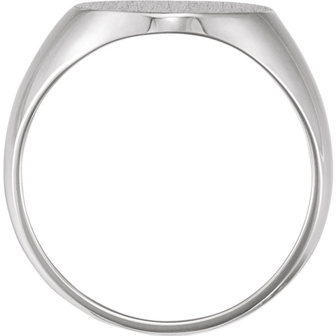 14k White Gold 16x14mm Solid Oval Men's Signet Ring, Size 11
