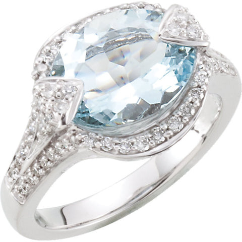 1/2 CTTW Genuine Aquamarine and Diamond Ring in 14k White Gold ( Size 6 )