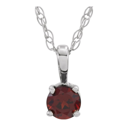 "Sterling Silver Imitation Garnet ""January"" Birthstone 14-inch Necklace for Kids"