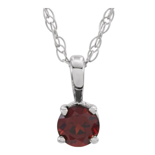 "14k White Gold Imitation Garnet ""January"" Birthstone 14"" Necklace"