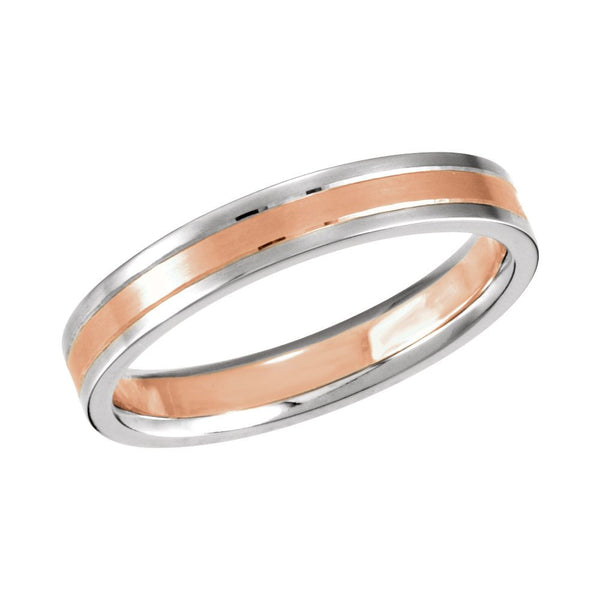 14K White & Rose Gold 4mm Band Size 9