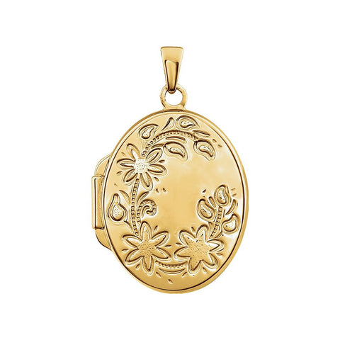 Yellow Gold Plated Sterling Silver Oval Locket