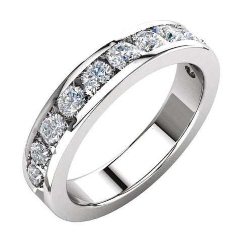 1 1/8 CTTW Diamond Anniversary Band in 14k White Gold (Size 6 )