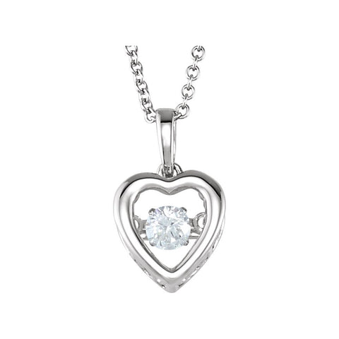14K White Gold 1/6 Ct Diamond Heart 18-Inch Necklace