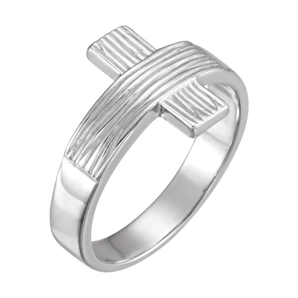 Sterling Silver The Rugged Cross® Chastity Ring with Packaging Size 8