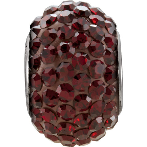 Kera Garnet-Colored Crystal Pave' Bead with January Birthstone in Sterling Silver