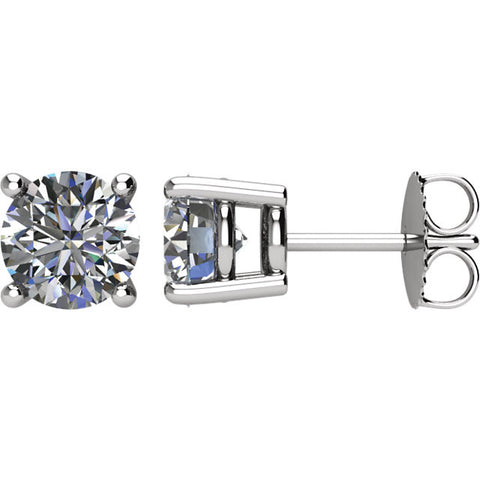 Pair of 2 CTTW Basket-Style Friction Post Stud Earring in 14k White Gold