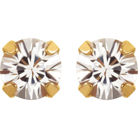 "24K Yellow with Stainless Steel Solitaire ""April"" Birthstone Piercing Earrings"