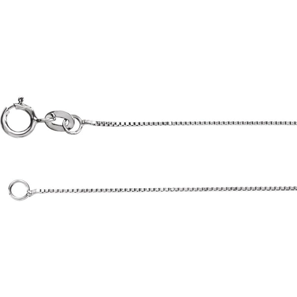 "14k White Gold .55mm Solid Box 16"" Chain"