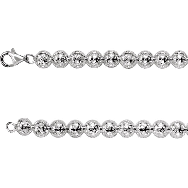 "Sterling Silver 8mm Hollow Bead 20"" Chain"