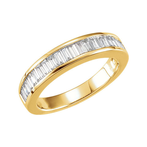 14k Yellow Gold 3/4 CTW Diamond Anniversary Ring Size 7