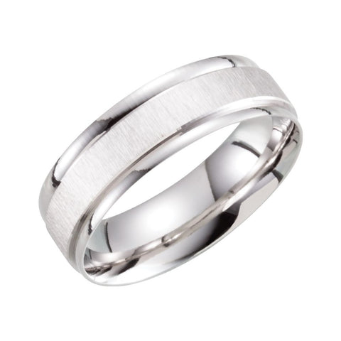 10k White Gold 6mm Lightweight Patterned Band Size 10