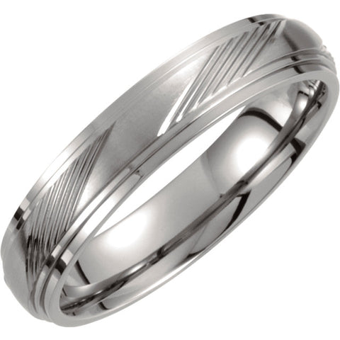 Titanium 5mm Ridged Band Size 9.5