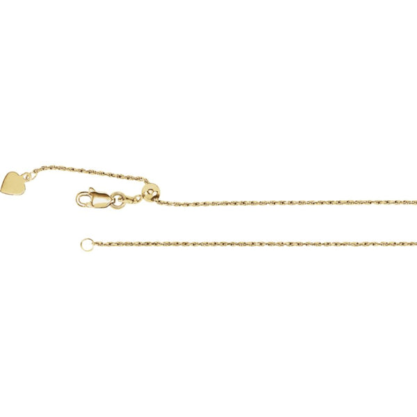 "14k Yellow Gold 1mm Adjustable Rope 22"" Chain"