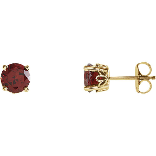 14k Yellow Gold Mozambique Garnet Scroll Design® Round 4-Prong Stud Earrings