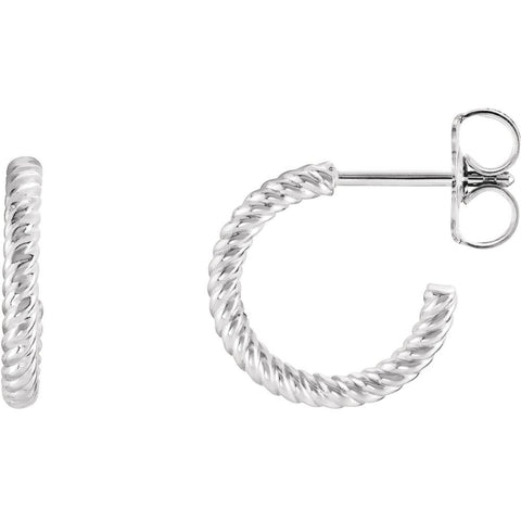 14k White Gold 12mm Rope Design Hoop Earrings