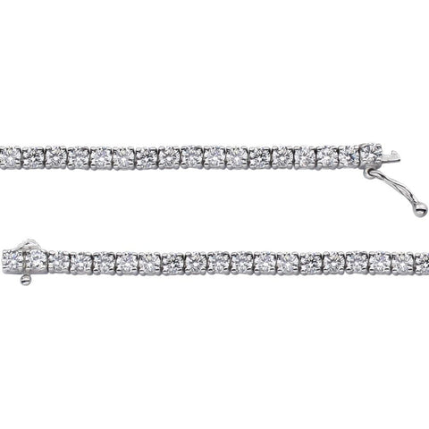 Sterling Silver 3mm Round Cubic Zirconia Bracelet