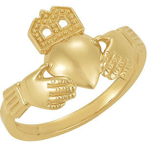 14k Yellow Gold 12x14mm Ladies Claddagh Ring, Size 7