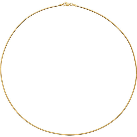 "14k Yellow Gold 1.2mm Square Diamond Cut Snake 16"" Chain"