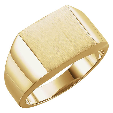 12.00 mm Men's Signet Ring With Brush Finish in 10K Yellow Gold (Size 10)