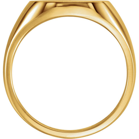 10k Yellow Gold 14mm Men's Signet Ring with Brush Top Finish, Size 11