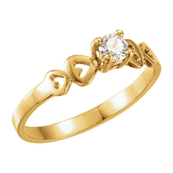 14k Yellow Gold Cubic Zirconia Youth Ring Size 3