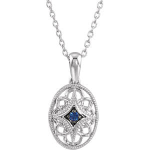 "Sterling Silver Sapphire 18"" Necklace"