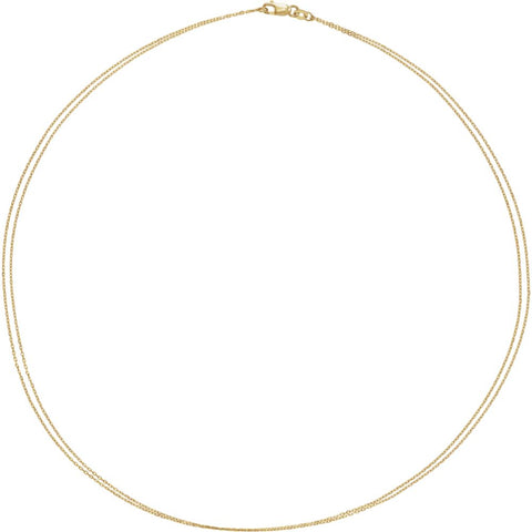 Double-Strand Cable Diamond-Cut Chain 1.0mm (18 Inch) in 14K Yellow Gold